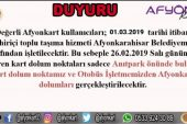 AFYON KART KULLANICILARININ DİKKATİNE