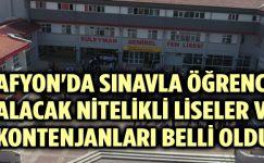 AFYON'DA SINAVLA ÖĞRENCİ ALACAK LİSELER VE KONTENJANLARI BELLİ OLDU